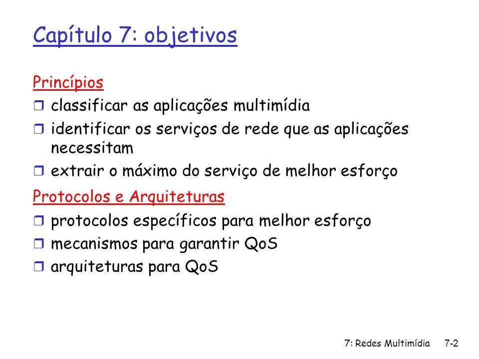 7: Redes Multimídia7-3 Capítulo 7: roteiro 7.1 aplicações multimídia em redes 7.2 fluxos contínuos (streams) de áudio e vídeo armazenados 7.3 extraindo o máximo do serviço de melhor esforço 7.4 protocolos para aplicações interativas de tempo real m RTP,RTCP,SIP 7.5 suprindo múltiplas classes de serviços 7.6 suprindo garantias de QoS
