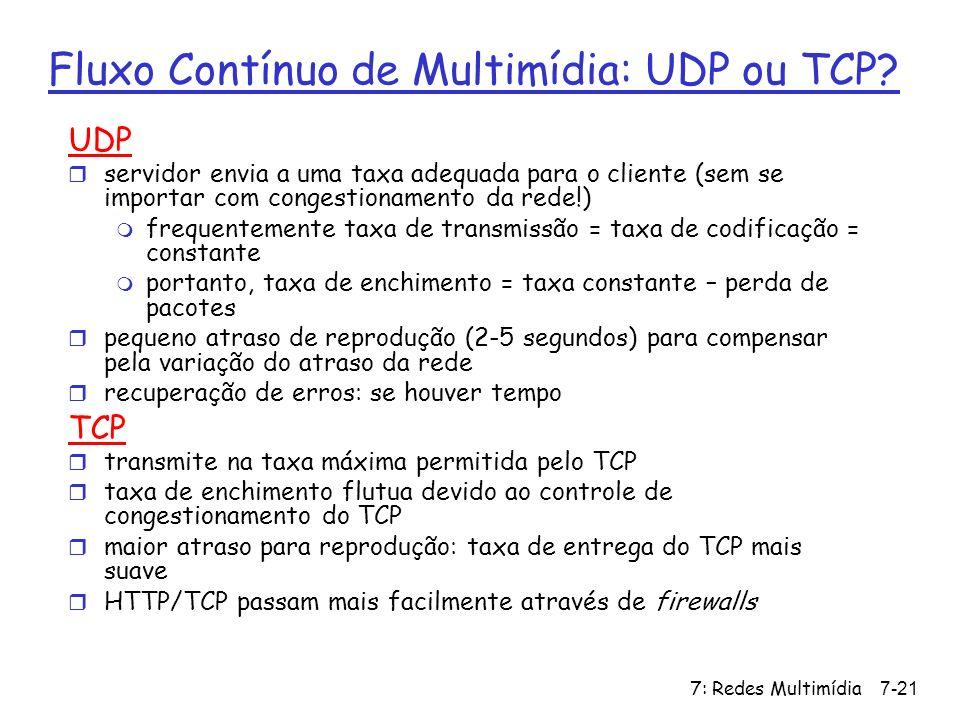 7: Redes Multimídia7-21 Fluxo Contínuo de Multimídia: UDP ou TCP? UDP r servidor envia a uma taxa adequada para o cliente (sem se importar com congest