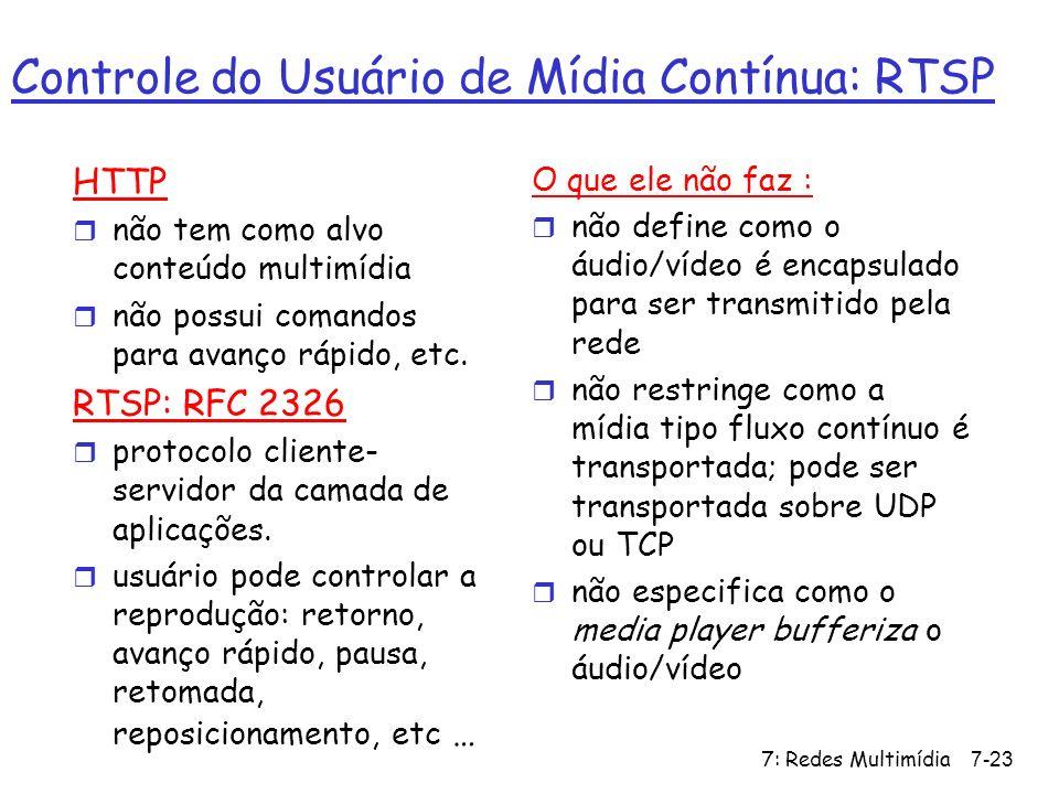 7: Redes Multimídia7-23 Controle do Usuário de Mídia Contínua: RTSP HTTP r não tem como alvo conteúdo multimídia r não possui comandos para avanço ráp