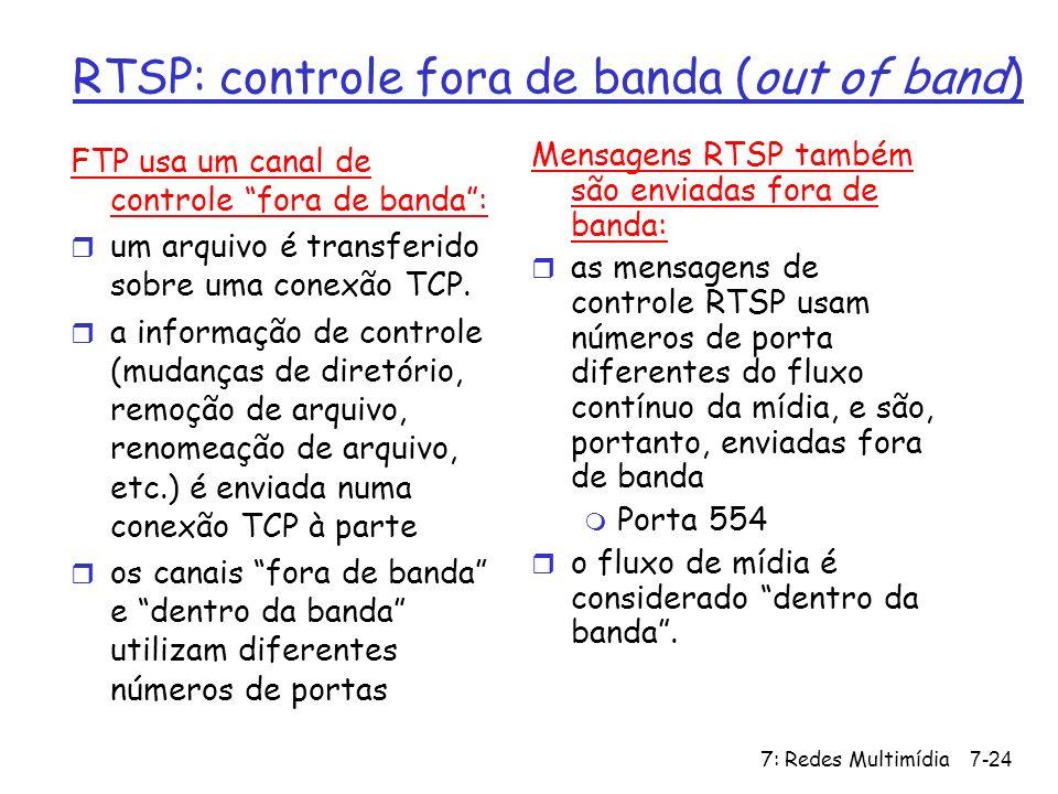 7: Redes Multimídia7-24 RTSP: controle fora de banda (out of band) FTP usa um canal de controle fora de banda: r um arquivo é transferido sobre uma co