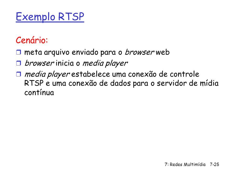 7: Redes Multimídia7-25 Exemplo RTSP Cenário: r meta arquivo enviado para o browser web r browser inicia o media player r media player estabelece uma