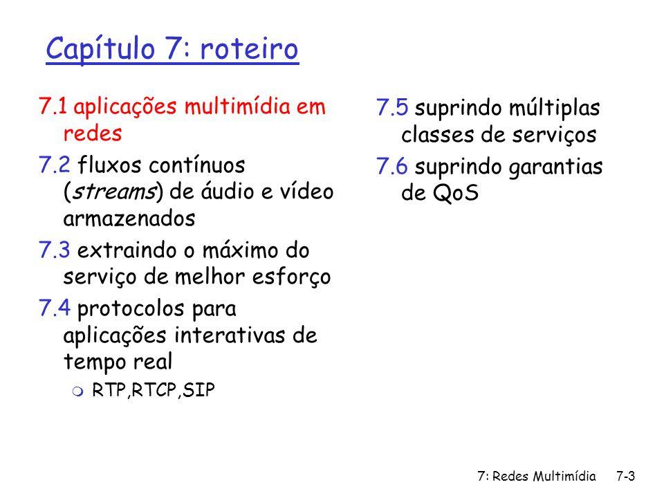 7: Redes Multimídia7-14 Capítulo 7: roteiro 7.1 aplicações multimídia em redes 7.2 fluxos contínuos (streams) de áudio e vídeo armazenados 7.3 extraindo o máximo do serviço de melhor esforço 7.4 protocolos para aplicações interativas de tempo real m RTP,RTCP,SIP 7.5 suprindo múltiplas classes de serviços 7.6 suprindo garantias de QoS