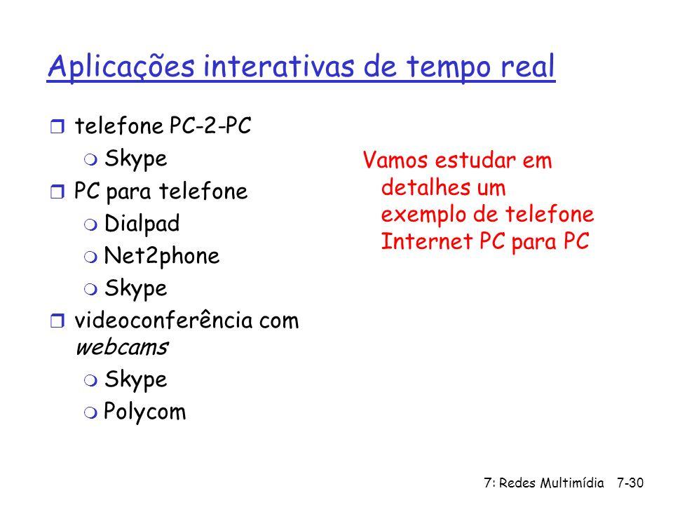 7: Redes Multimídia7-30 Aplicações interativas de tempo real r telefone PC-2-PC m Skype r PC para telefone m Dialpad m Net2phone m Skype r videoconfer