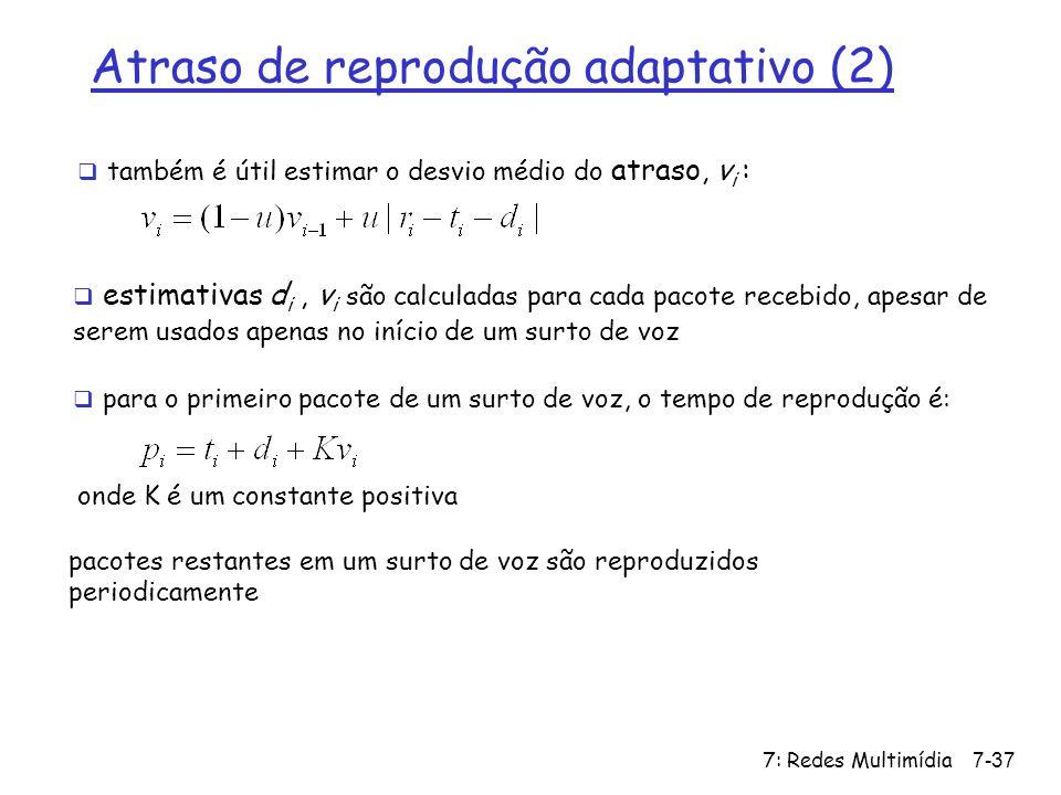 7: Redes Multimídia7-37 Atraso de reprodução adaptativo (2) também é útil estimar o desvio médio do atraso, v i : estimativas d i, v i são calculadas