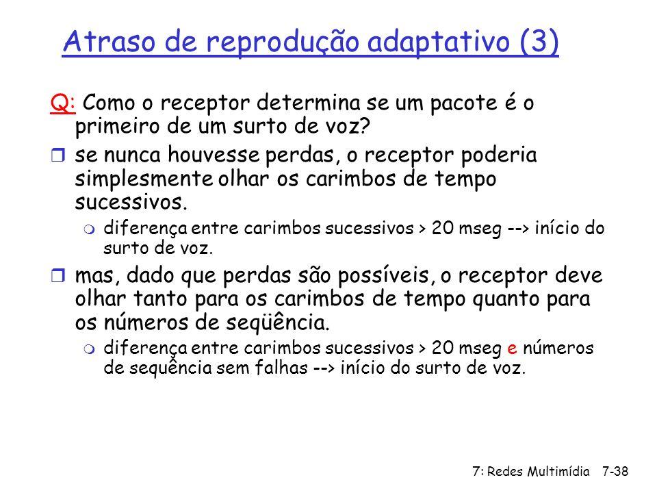 7: Redes Multimídia7-38 Atraso de reprodução adaptativo (3) Q: Como o receptor determina se um pacote é o primeiro de um surto de voz? r se nunca houv
