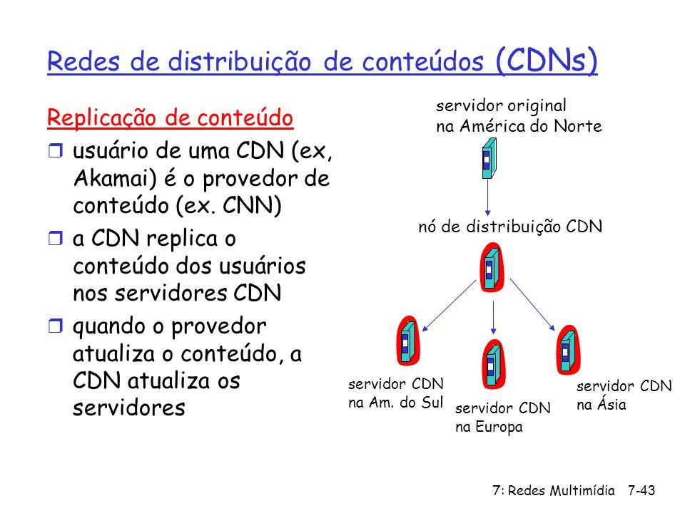 7: Redes Multimídia7-43 Redes de distribuição de conteúdos (CDNs) Replicação de conteúdo r usuário de uma CDN (ex, Akamai) é o provedor de conteúdo (e
