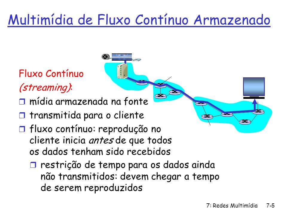 7: Redes Multimídia7-16 Multimídia na Internet: abordagem simplista áudio, vídeo não são enviados como fluxo contínuo: r não há cadeia de montagem (pipelining) longos atrasos até a reprodução.