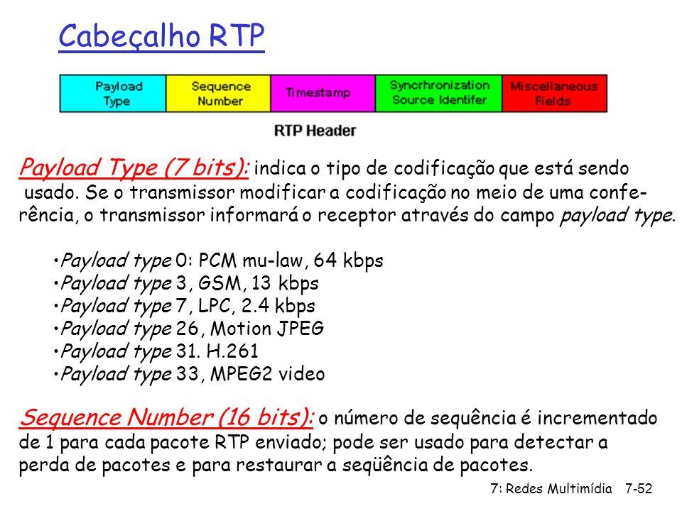 7: Redes Multimídia7-52 Cabeçalho RTP Payload Type (7 bits): indica o tipo de codificação que está sendo usado. Se o transmissor modificar a codificaç