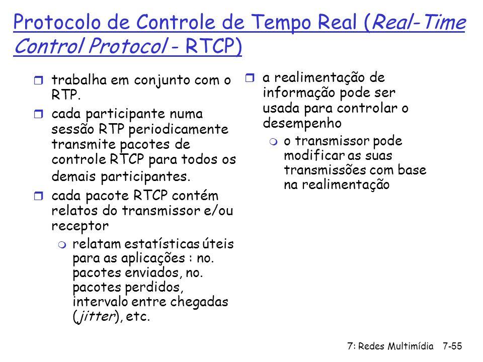 7: Redes Multimídia7-55 Protocolo de Controle de Tempo Real (Real-Time Control Protocol - RTCP) r trabalha em conjunto com o RTP. r cada participante