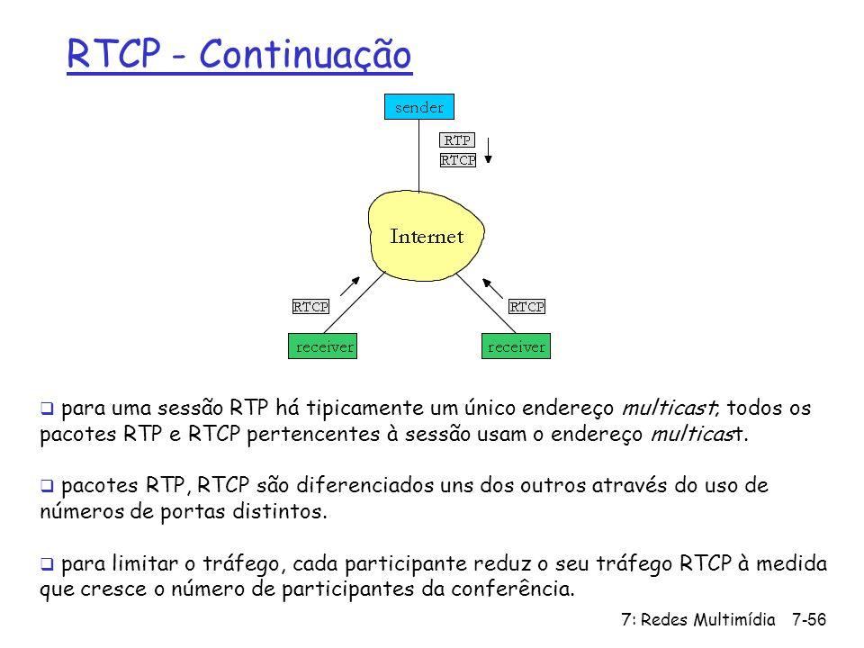7: Redes Multimídia7-56 RTCP - Continuação para uma sessão RTP há tipicamente um único endereço multicast; todos os pacotes RTP e RTCP pertencentes à