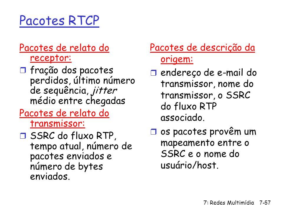 7: Redes Multimídia7-57 Pacotes RTCP Pacotes de relato do receptor: r fração dos pacotes perdidos, último número de sequência, jitter médio entre cheg