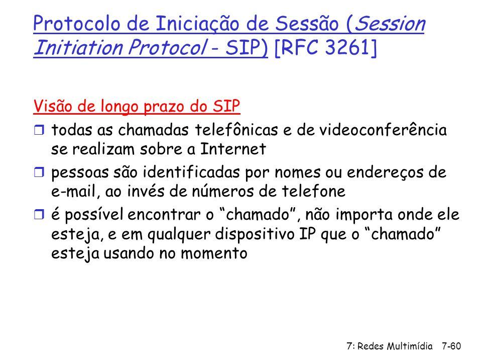 7: Redes Multimídia7-60 Protocolo de Iniciação de Sessão (Session Initiation Protocol - SIP) [RFC 3261] Visão de longo prazo do SIP r todas as chamada