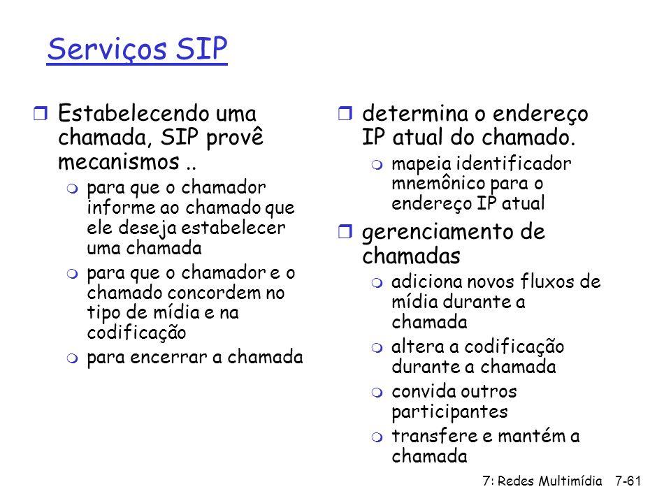 7: Redes Multimídia7-61 Serviços SIP r Estabelecendo uma chamada, SIP provê mecanismos.. m para que o chamador informe ao chamado que ele deseja estab