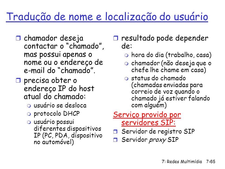 7: Redes Multimídia7-65 Tradução de nome e localização do usuário r chamador deseja contactar o chamado, mas possui apenas o nome ou o endereço de e-m