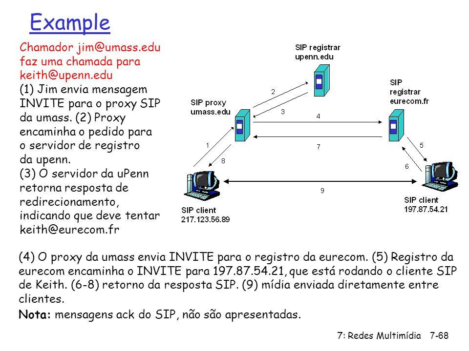 7: Redes Multimídia7-68 Example Chamador jim@umass.edu faz uma chamada para keith@upenn.edu (1) Jim envia mensagem INVITE para o proxy SIP da umass. (