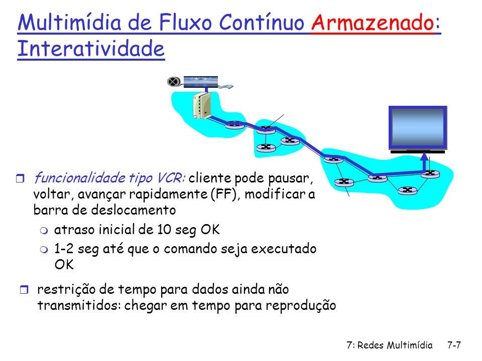 7: Redes Multimídia7-28 RTSP: exemplo de diálogo C: SETUP rtsp://audio.example.com/twister/audio RTSP/1.0 Transport: rtp/udp; compression; port=3056; mode=PLAY S: RTSP/1.0 200 1 OK Session 4231 C: PLAY rtsp://audio.example.com/twister/audio.en/lofi RTSP/1.0 Session: 4231 Range: npt=0- C: PAUSE rtsp://audio.example.com/twister/audio.en/lofi RTSP/1.0 Session: 4231 Range: npt=37 C: TEARDOWN rtsp://audio.example.com/twister/audio.en/lofi RTSP/1.0 Session: 4231 S: 200 3 OK