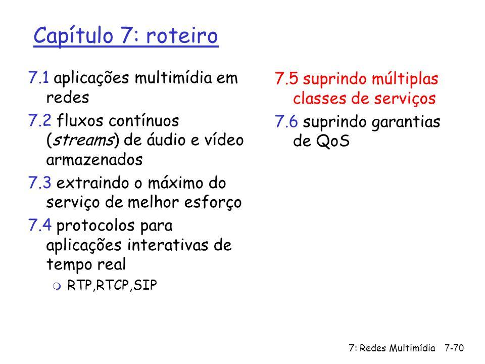 7: Redes Multimídia7-70 Capítulo 7: roteiro 7.1 aplicações multimídia em redes 7.2 fluxos contínuos (streams) de áudio e vídeo armazenados 7.3 extrain