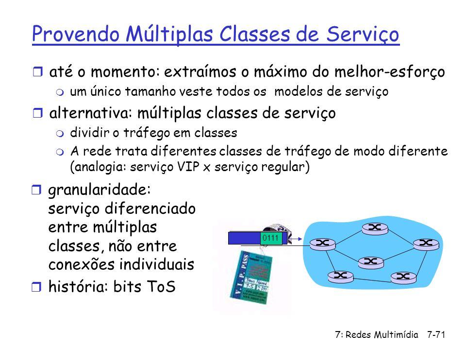 7: Redes Multimídia7-71 Provendo Múltiplas Classes de Serviço r até o momento: extraímos o máximo do melhor-esforço m um único tamanho veste todos os