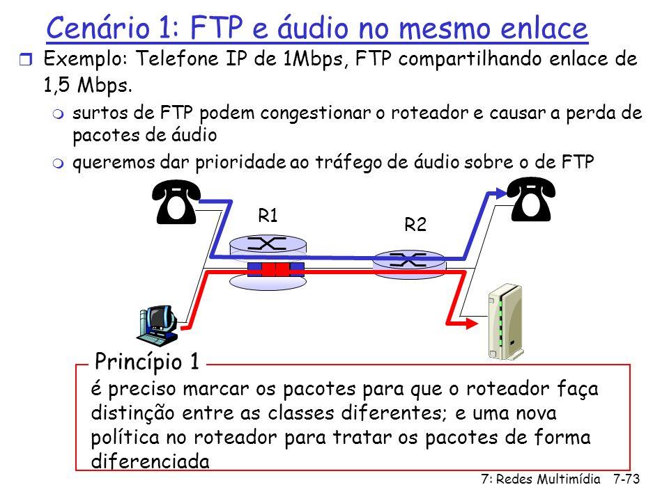 7: Redes Multimídia7-73 Cenário 1: FTP e áudio no mesmo enlace r Exemplo: Telefone IP de 1Mbps, FTP compartilhando enlace de 1,5 Mbps. m surtos de FTP