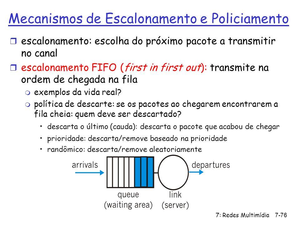 7: Redes Multimídia7-76 Mecanismos de Escalonamento e Policiamento r escalonamento: escolha do próximo pacote a transmitir no canal r escalonamento FI