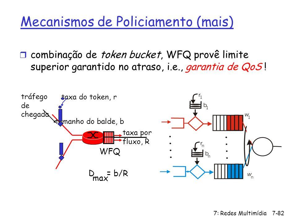 7: Redes Multimídia7-82 Mecanismos de Policiamento (mais) r combinação de token bucket, WFQ provê limite superior garantido no atraso, i.e., garantia