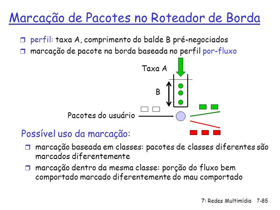 7: Redes Multimídia7-85 Marcação de Pacotes no Roteador de Borda r marcação baseada em classes: pacotes de classes diferentes são marcados diferenteme