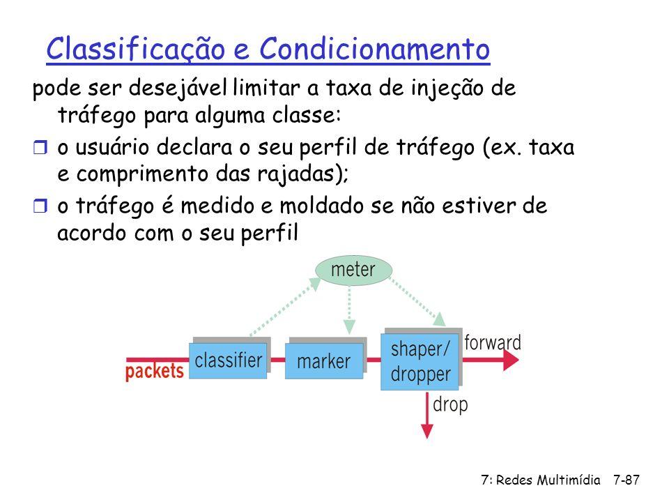 7: Redes Multimídia7-87 Classificação e Condicionamento pode ser desejável limitar a taxa de injeção de tráfego para alguma classe: r o usuário declar