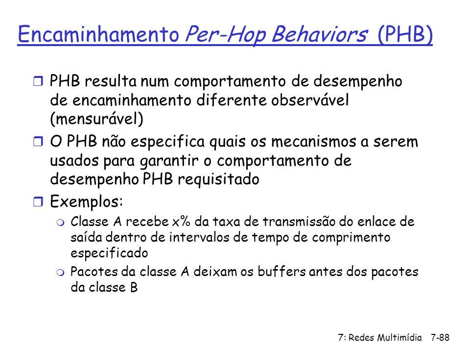 7: Redes Multimídia7-88 Encaminhamento Per-Hop Behaviors (PHB) r PHB resulta num comportamento de desempenho de encaminhamento diferente observável (m