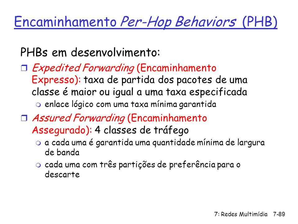 7: Redes Multimídia7-89 Encaminhamento Per-Hop Behaviors (PHB) PHBs em desenvolvimento: r Expedited Forwarding (Encaminhamento Expresso): taxa de part
