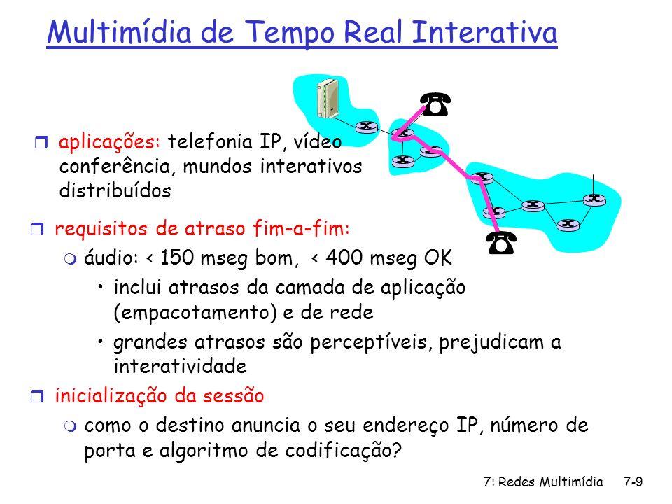 7: Redes Multimídia7-90 Capítulo 7: roteiro 7.1 aplicações multimídia em redes 7.2 fluxos contínuos (streams) de áudio e vídeo armazenados 7.3 extraindo o máximo do serviço de melhor esforço 7.4 protocolos para aplicações interativas de tempo real m RTP,RTCP,SIP 7.5 suprindo múltiplas classes de serviços 7.6 suprindo garantias de QoS