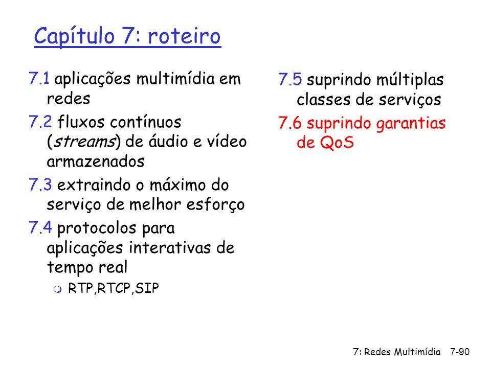 7: Redes Multimídia7-90 Capítulo 7: roteiro 7.1 aplicações multimídia em redes 7.2 fluxos contínuos (streams) de áudio e vídeo armazenados 7.3 extrain