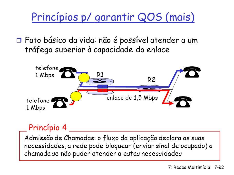 7: Redes Multimídia7-92 Princípios p/ garantir QOS (mais) r Fato básico da vida: não é possível atender a um tráfego superior à capacidade do enlace A