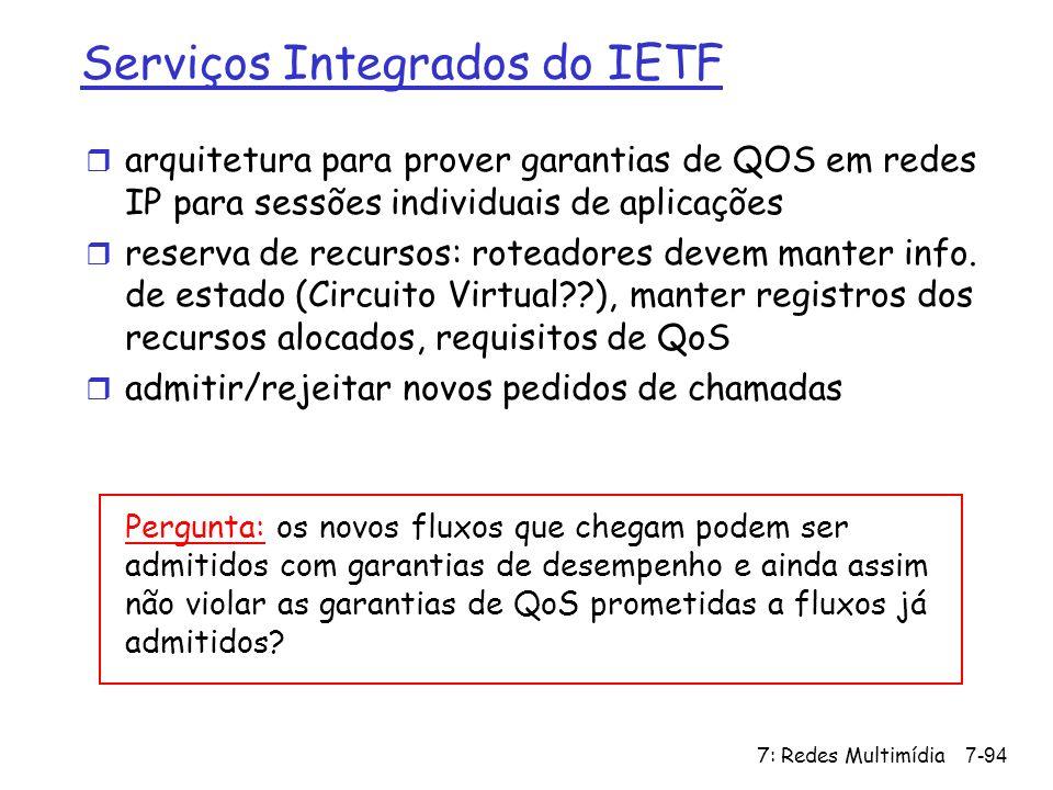 7: Redes Multimídia7-94 Serviços Integrados do IETF r arquitetura para prover garantias de QOS em redes IP para sessões individuais de aplicações r re