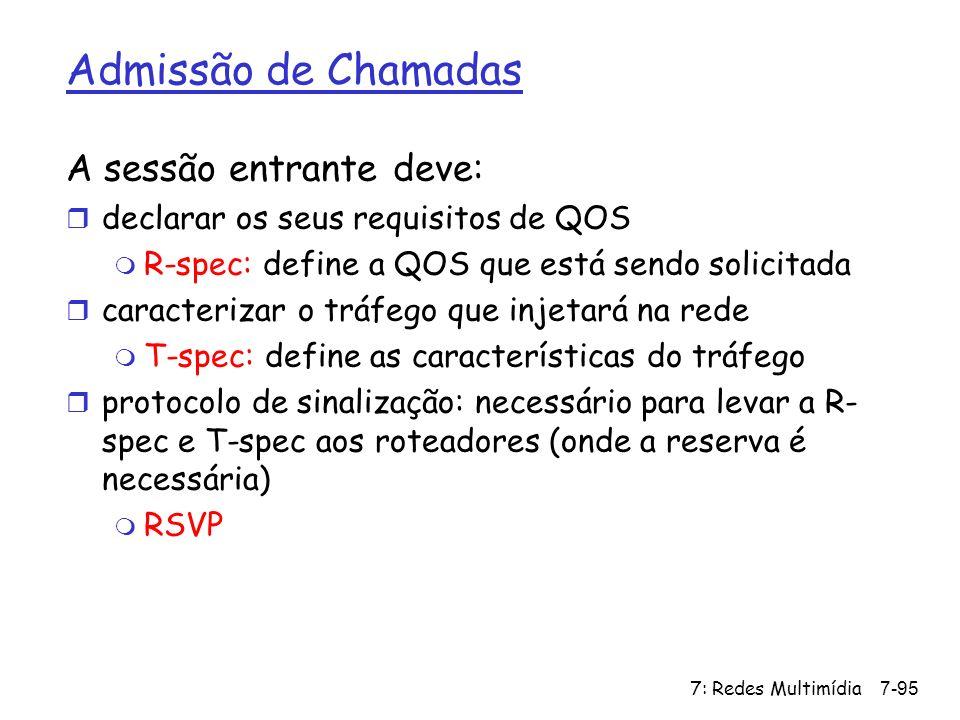 7: Redes Multimídia7-95 Admissão de Chamadas A sessão entrante deve: r declarar os seus requisitos de QOS m R-spec: define a QOS que está sendo solici