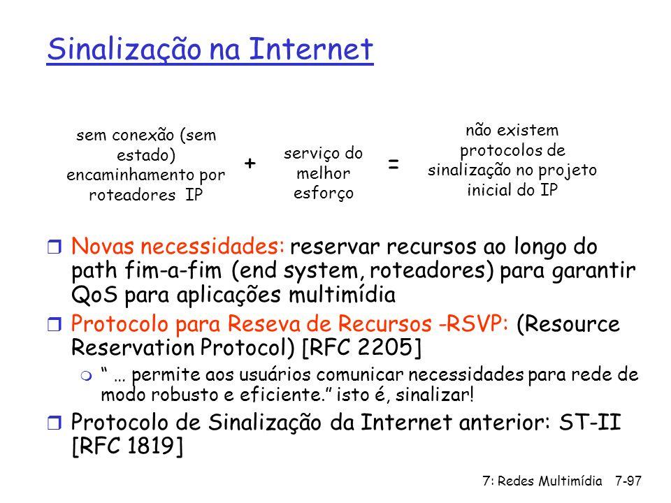 7: Redes Multimídia7-97 Sinalização na Internet sem conexão (sem estado) encaminhamento por roteadores IP serviço do melhor esforço não existem protoc