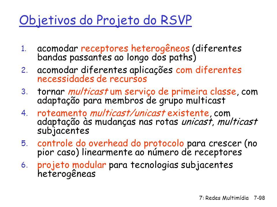 7: Redes Multimídia7-98 Objetivos do Projeto do RSVP 1. acomodar receptores heterogêneos (diferentes bandas passantes ao longo dos paths) 2. acomodar