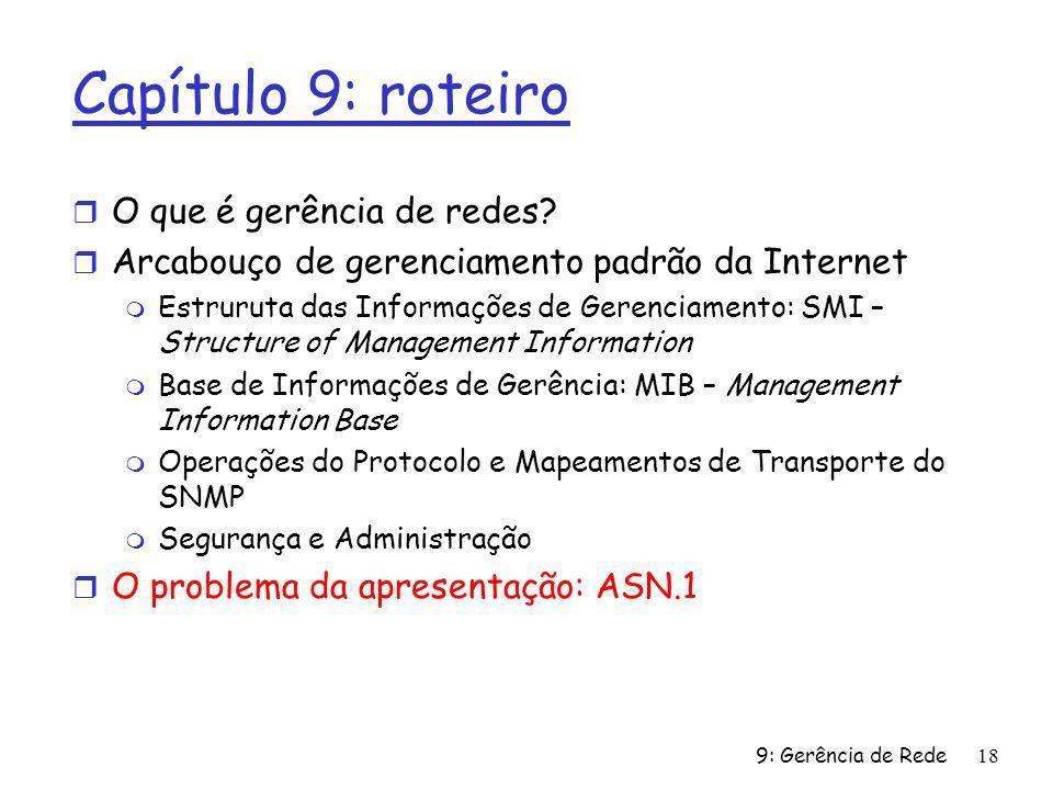 9: Gerência de Rede18 Capítulo 9: roteiro r O que é gerência de redes? r Arcabouço de gerenciamento padrão da Internet m Estruruta das Informações de