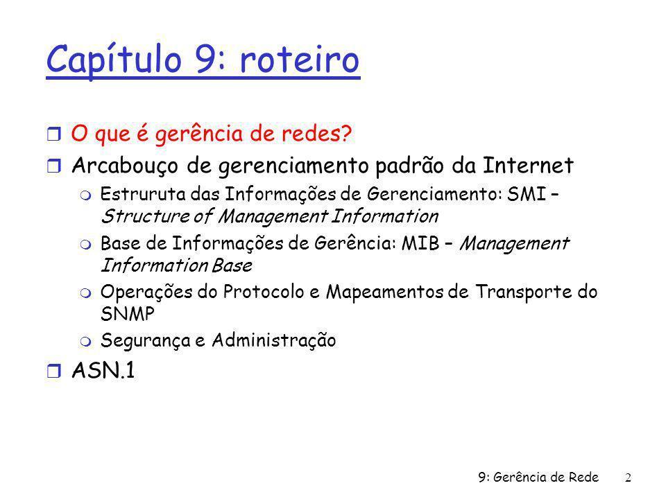 9: Gerência de Rede2 Capítulo 9: roteiro r O que é gerência de redes? r Arcabouço de gerenciamento padrão da Internet m Estruruta das Informações de G