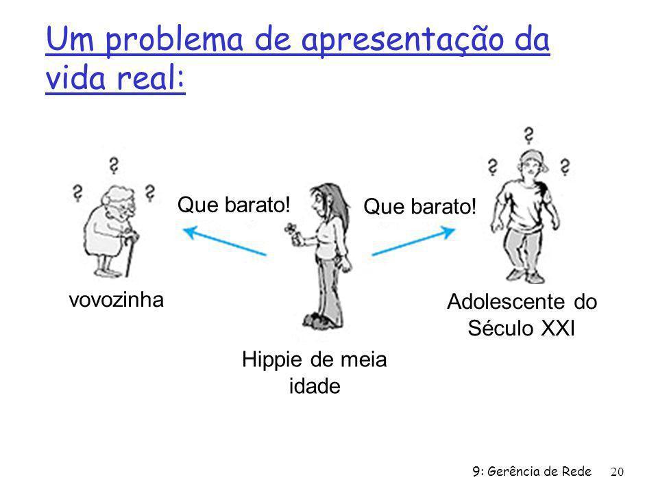 9: Gerência de Rede20 Um problema de apresentação da vida real: Hippie de meia idade Adolescente do Século XXI vovozinha Que barato!