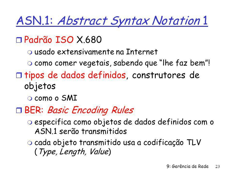 9: Gerência de Rede23 ASN.1: Abstract Syntax Notation 1 r Padrão ISO X.680 m usado extensivamente na Internet m como comer vegetais, sabendo que lhe f