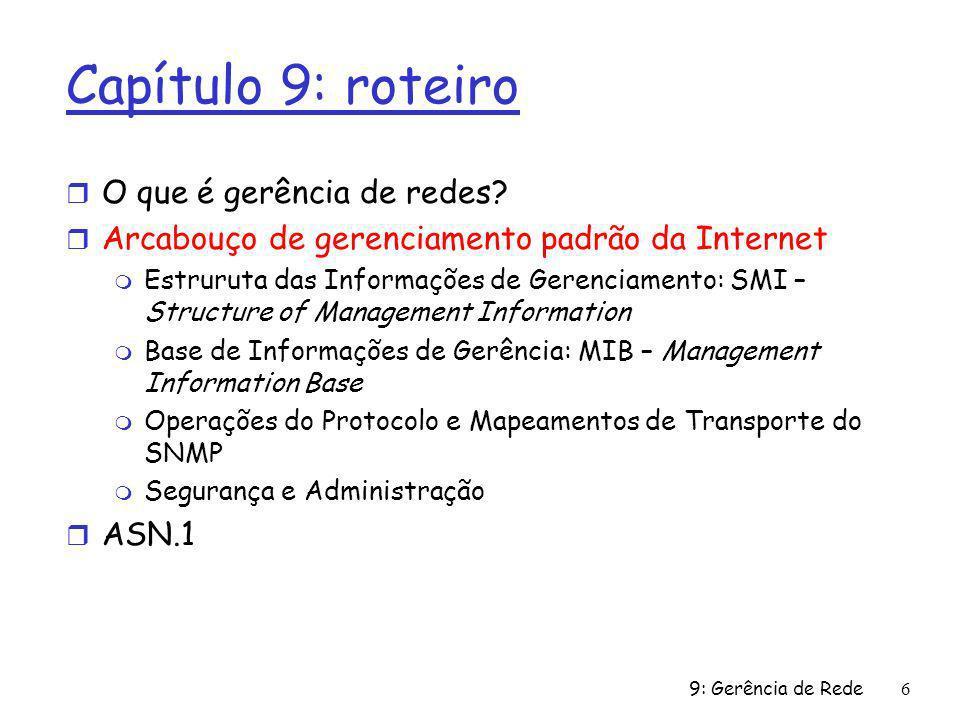 9: Gerência de Rede6 Capítulo 9: roteiro r O que é gerência de redes? r Arcabouço de gerenciamento padrão da Internet m Estruruta das Informações de G