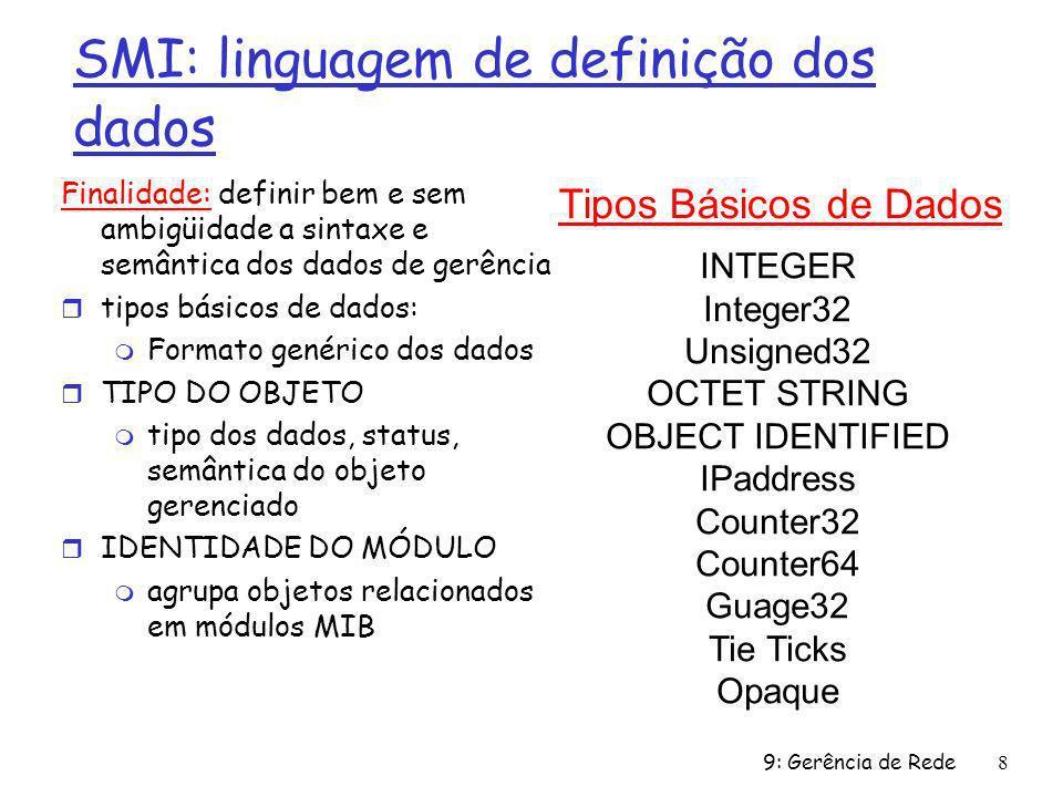 9: Gerência de Rede9 MIB SNMP OBJECT TYPE: objetos especificados via construção OBJECT-TYPE da SMI Um módulo MIB é especificado pela SMI como: MODULE-IDENTITY (100 MIBs padronizadas, mais proprietárias) MODULE