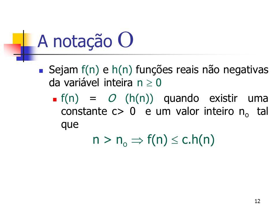 12 A notação Sejam f(n) e h(n) funções reais não negativas da variável inteira n 0 f(n) = O (h(n)) quando existir uma constante c> 0 e um valor inteiro n o tal que n > n o f(n) c.h(n)