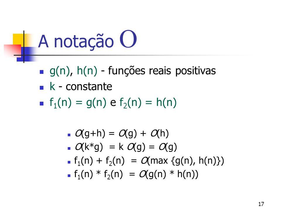 17 A notação g(n), h(n) - funções reais positivas k - constante f 1 (n) = g(n) e f 2 (n) = h(n) O(g+h) = O(g) + O(h) O(k*g) = k O(g) = O(g) f 1 (n) + f 2 (n) = O(max {g(n), h(n)}) f 1 (n) * f 2 (n) = O(g(n) * h(n))
