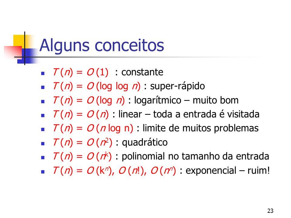 23 Alguns conceitos T (n) = O (1) : constante T (n) = O (log log n) : super-rápido T (n) = O (log n) : logarítmico – muito bom T (n) = O (n) : linear – toda a entrada é visitada T (n) = O (n log n) : limite de muitos problemas T (n) = O (n 2 ) : quadrático T (n) = O (n k ) : polinomial no tamanho da entrada T (n) = O (k n ), O (n!), O (n n ) : exponencial – ruim!