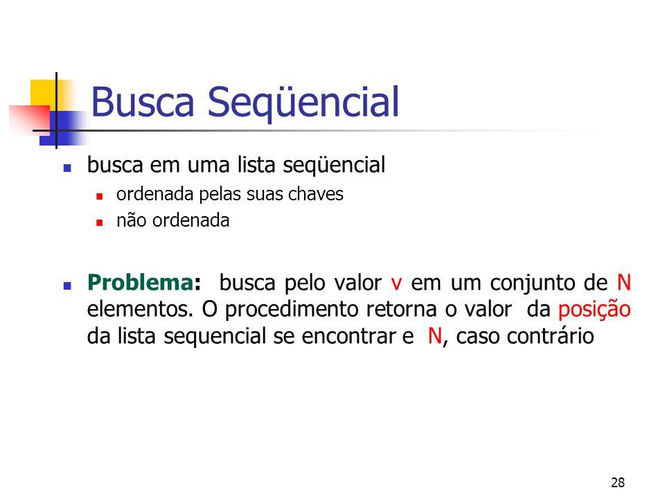 28 Busca Seqüencial busca em uma lista seqüencial ordenada pelas suas chaves não ordenada Problema: busca pelo valor v em um conjunto de N elementos.