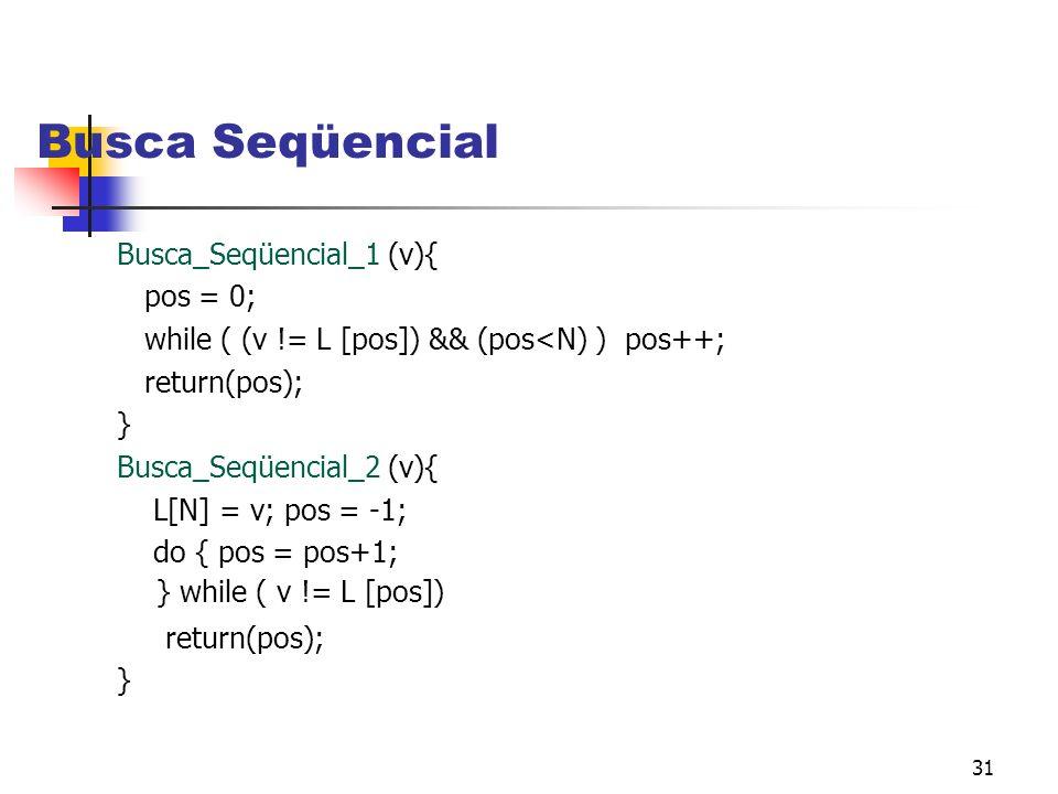 31 Busca Seqüencial Busca_Seqüencial_1 (v){ pos = 0; while ( (v != L [pos]) && (pos<N) ) pos++; return(pos); } Busca_Seqüencial_2 (v){ L[N] = v; pos = -1; do { pos = pos+1; } while ( v != L [pos]) return(pos); }