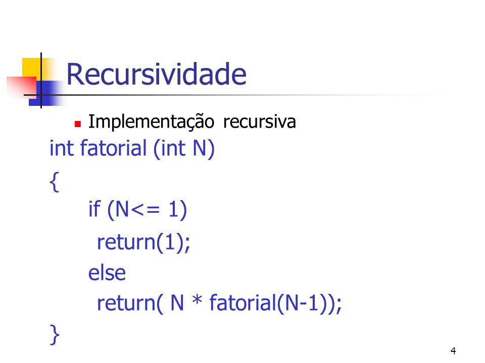 4 Recursividade Implementação recursiva int fatorial (int N) { if (N<= 1) return(1); else return( N * fatorial(N-1)); }