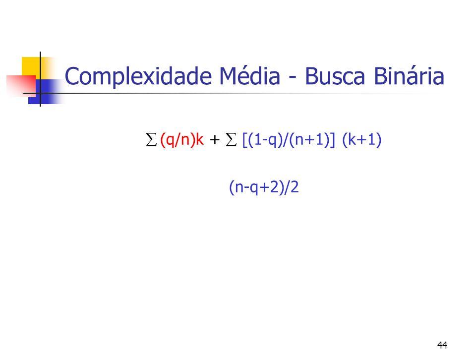 44 Complexidade Média - Busca Binária (q/n)k + [(1-q)/(n+1)] (k+1) (n-q+2)/2