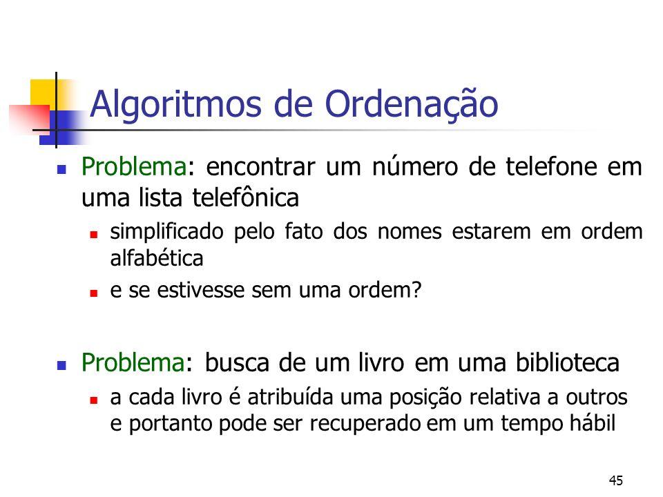 45 Algoritmos de Ordenação Problema: encontrar um número de telefone em uma lista telefônica simplificado pelo fato dos nomes estarem em ordem alfabética e se estivesse sem uma ordem.